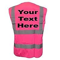 CUSTOM-FUNKY Scan Personalised Pink Hi Vis Waistcoat Med