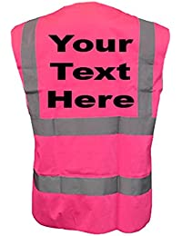 PERSONALISED printed PINK HIGH VISIBILITY WAISTCOAT/VEST HI VIS any name.