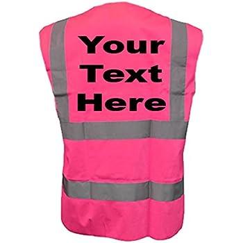 5XL, Black Hi Vis Personalised Vest Safety Reflective Waistcoat Security Hi Viz