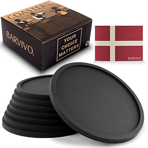 BARVIVO Set di 8 Nero Sottobicchieri Universali Antiscivolo. Protezione per Qualsiasi Tipo di Tavolo o tavolino in Legno, Marmo,...