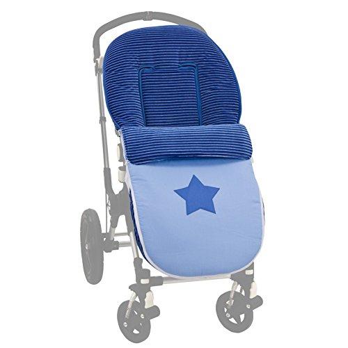 Saco universal silla paseo. Color Marino. Interior Piel de Melocotón. Desmontable en colchoneta y cubrepies.