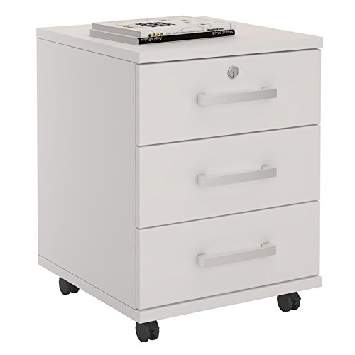 CARO-Möbel Rollcontainer Bürocontainer Büroschrank Vancouver, in weiß, abschließbar mit 3 Schubladen, 44 x 55 x 45 cm