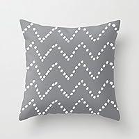 Chevron Dots grigio tela piazza federe con cerniera di copertura cuscino federa 45,7x 45,7cm
