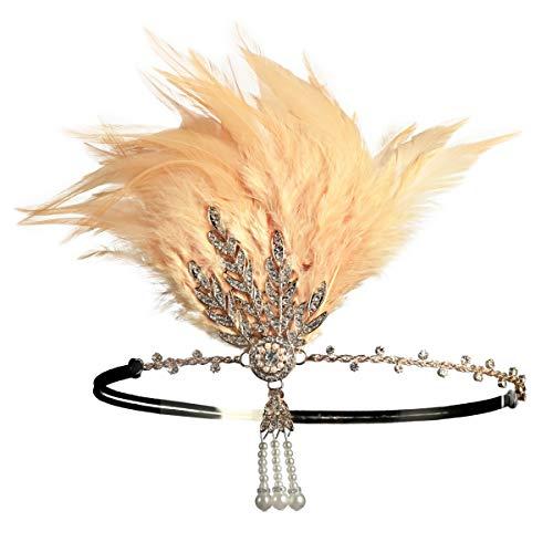 Zivyes 1920er Jahre Flapper Stirnband Roaring 20s Zubehör Hochzeit Headpiece große Gatsby Haarschmuck (2-Champagner) (Stirnband Champagner)