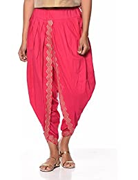 Nika Women's Cotton Hand Block Printed Dhoti Salwar by Kaanchie Nanggia (DH721_Pink_Freesize)