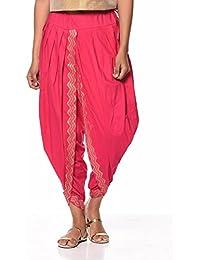 Nika Women's Cotton Hand Block Printed Dhoti Salwar by Kaanchie Nanggia (DH721_Pink_Freesize)