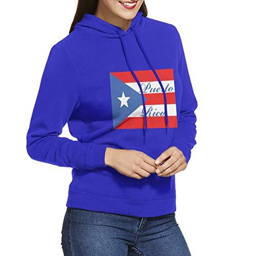 Eamibay Puerto Rico Long Sleeve Women's Hoodie Sweatshirt Drawstring Hooded Pullover Tops Blouses Blue M