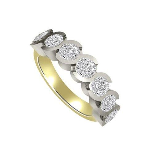 0.91ct F/VS1 Diamante Half Eternity Anello da