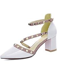 Zapatos para mujer HWF Sandalias, Verano, Tacones Altos (Color : Blanco, Tamaño : 38)
