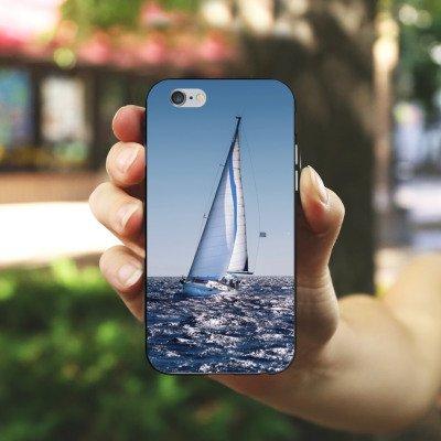 Apple iPhone X Silikon Hülle Case Schutzhülle Segeln Sailing Segelboot Silikon Case schwarz / weiß