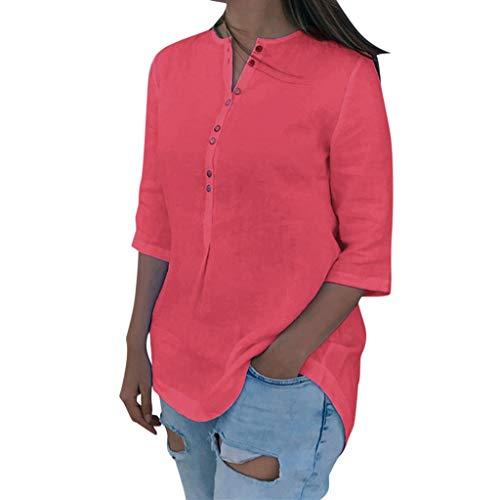 ABsoar Baumwoll-Leinen T-Shirt Damen Lässige Beliebte Blusen Bequem Lose Shirts Frauen Unregelmäßiges Hem V-Ausschnitt Tops mit Knopf -
