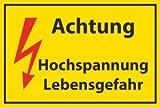 Arbeitsschutz Schild -513- Hochspannung 29,5cm * 20cm * 2mm, ohne Befestigung
