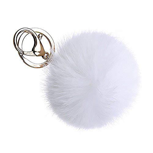 Alma pom pon portachiavi palla in pelliccia sintetica accessorio borsa donna bianco