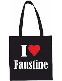 Sac à Bandoulière I Love Faustine Shopping Bag Sac d'école Sac de Sport 38x 42cm en Noir ou Blanc.. Le cadeau parfait pour votre amoureux