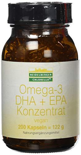 Heidelberger Chlorella - Omega-3 DHA + EPA Konzentrat Kapseln, vegan, aus Algenöl, hochdosiert, gute Bioverfügbarkeit, 122 g, 200 Kapseln -