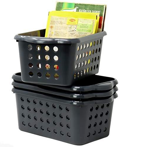 Hausfelder ORDNUNGSLIEBE Kleiner Aufbewahrungskorb für Küche Bad - 4er Set - Kunststoff Aufbewahrungskörbe - Vielzweck Haushalstkörbe (4er Set/Anthrazit)