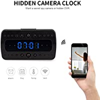 FREDI wireless Hidden Camera Alarm Clock HD 1080P wifi Home Surveillance Cameras Night Vision/Motion Detection/Temperature Display Video Recorder