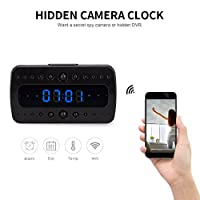 FREDI wireless Hidden Camera Alarm Clock HD 1080P wifi Home Surveillance Cameras Night Vision/Motion Detection/Temperature Display Video Recorder