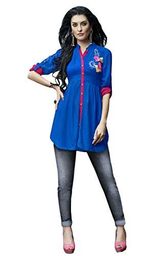 Kurti (J B Fashion Women\'S Rayon Blue Colour Kurta (k2021))