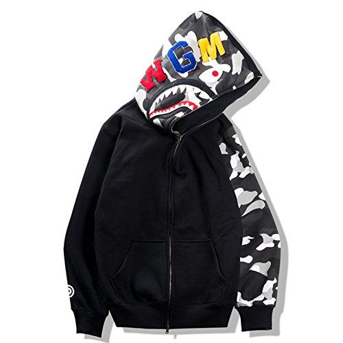 Sissiren maglione con cappuccio unisex felpa con cappuccio giacca luminosa casual del maglione nero giacca di shark xxl
