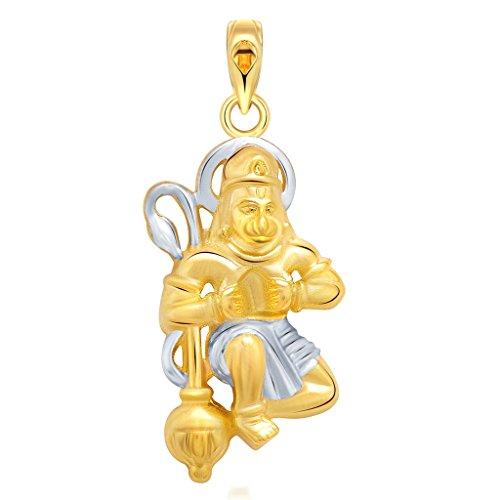 Vighnaharta jai Hanuman Gold and Rhodium Plated God Pendant - [VFJ1051PG]