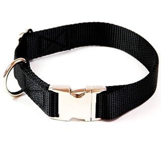 Premium - Hundehalsband, Alu Max® Steckschloß, Metall, 20 mm Bandbreite, 30 - 50 cm Halsumfang, uni schwarz