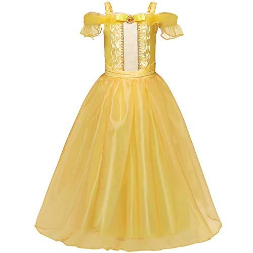 Mädchen-Prinzessin Belle Kostüm Prinzessin verkleiden Halloween-Partei-Kleider Prinzessin Kostüm Deluxe Partei-Abendkleid Up für Mädchen Kostüm Layered Kleid Cosplay Geburtstag Anzieh Erwachsener -