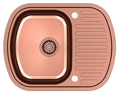 Ray 116 aus Edelstahl mit PVD-Beschichtung/Einbauspüle / Küchenspüle/Becken / Gebürstete Edelstahl/Farbe-Kupfer/PVD-Beschichtung/Abtropffläche / mit Blende / 1 Becken