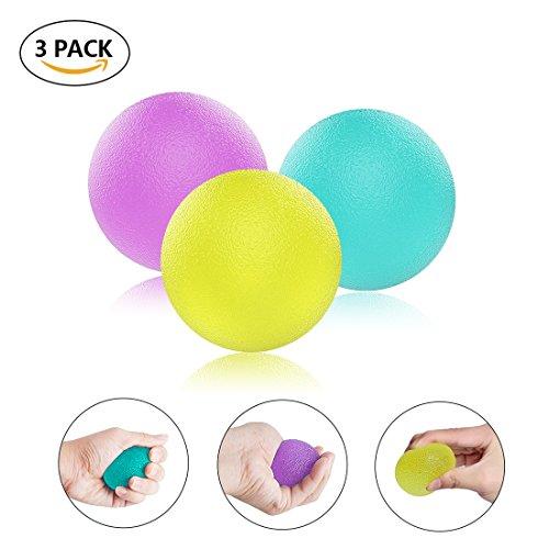 LESHP 3 Stück Griffbälle, Antistressball, Handtrainer und Fingertrainer, 3 Verschiedene Widerstandsstufen + Hochwertigem Aufbewahrungsbeutel