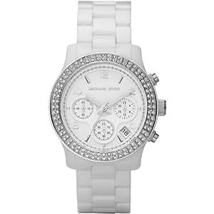 Michael Kors Mk5188 Ladies Watch with White Ceramic Bracelet, Stone Set Case and White Dial