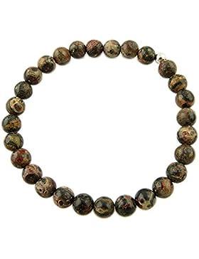 Sunsara Traumsteinshop Leopardenjaspis dunkel Armband Edelstein Kugeln (Perlen) 6 mm und 925er Silberkugel Heilsteinarmband...