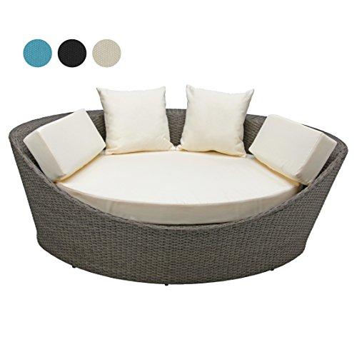 Deluxe Rattan Lounge KORFU 1 teilig 3 Jahre Garantie Rattanfarbe grau braun aufgeraut Kissenbezüge creme