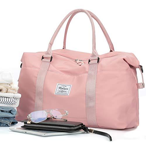 Damen Sporttasche Frauen Reisetasche modisch wasserdicht für Damen und Herren Yoga Pilates Strand Freizeit Sauna Gym-Tasche Shopping-Bag Weekender Urlaub Pink