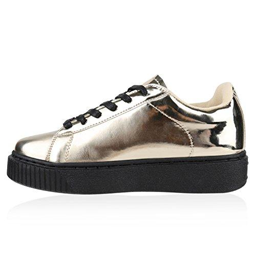 Damen Sneakers Basic Sportschuhe Schnürer Lederoptik Schuhe Gold Lack