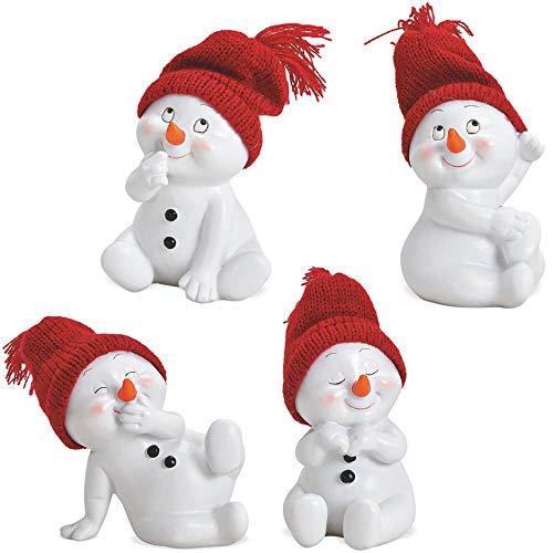 matches21 Schneemann Schneemänner Winter Deko Figuren rote Strickmützen Weihnachtsdeko 4er Set aus Kunststoff 9x11x8 cm