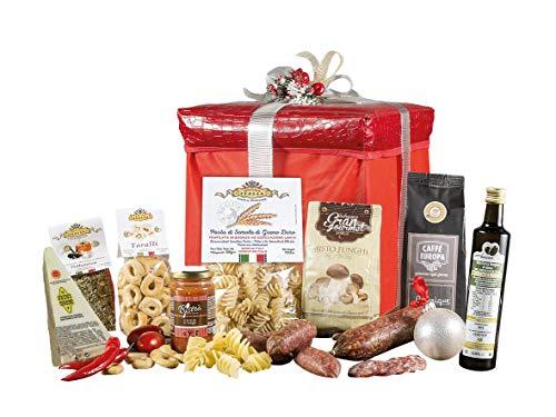 Pouff di natale - cesto natalizio con salumi, specialità italiane e prodotti tipici artigianali