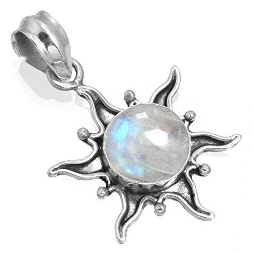 Jeweloporium Natürlich Regenbogen Mondstein Frau Schmuck 925 Sterling Silber Anhänger