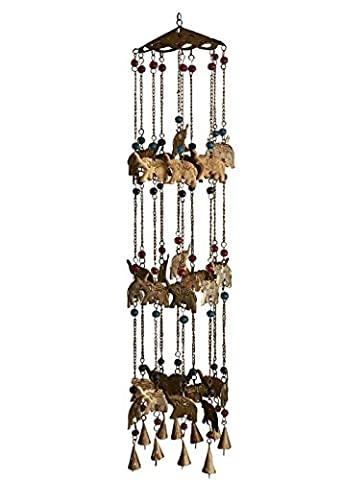 Store Indya Wrought Iron Wind Chimes Owl and Elephant Motifs with Gems & Beads Wall Window Tree Hanging Decor (Elephant)