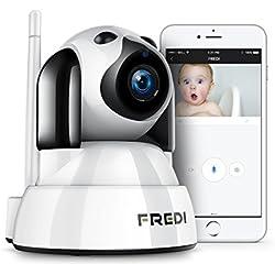 FREDI Baby Monitor IP WiFi P2P Cámara de Vigilancia /Seguridad Inalámbrica HD 720P Camara de Vigilabebes, IR Vision nocturna ,Admite MicroSD de hasta 128 GB Detección de Movimiento/para mascotas