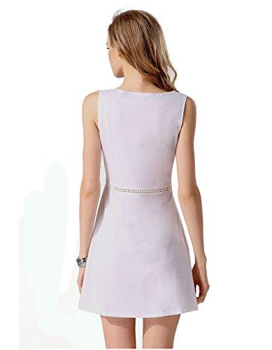 CRAVOG Damen Kleid Abendkleid Casual ärmel RundHals Ausschnitt Front Button festes Weiß