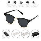 Maysurban Vintage Stil Unisex Sonnenbrille UV400 Schutz Polarisierte Brille mit Markantem Halbrahmen für Outdoor Schwarz