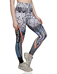 iSweven High Waist Stretchable Yoga Pants for Women Gym - Multicolor (6046, Available in 4 Sizes)
