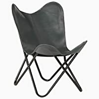 BIGTO Butterfly Chair Real Leather Desk Chair 74 x 66 x 90 cm (Grey)