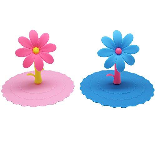 Homgaty Lot de 2 mignon Fleur anti-poussière en silicone Coque Tasse en verre Mug à café d'aspiration Joint Couvercle Cap