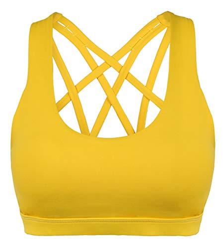 Gelbes Bh-träger (CLOUSPO Sport BH Damen Bustier Gepolstert Ohne Bügel Yoga BH Top für Workout (X-Large, Gelb))