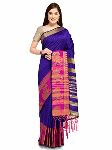 Color Silk Saree (Indian Handicrfats Export Colors Blue & Pink Silk Cotton Woven Design Saree)
