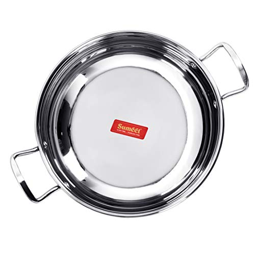 Sumeet Stainless Steel Induction Bottom (Encapsulated Bottom) Induction & Gas Stove Friendly Kadhai Size No.11 (1.5 LTR)