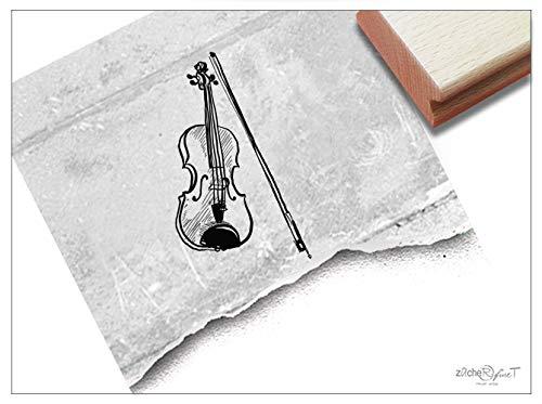 Stempel - Motivstempel Violine Geige, klein - Bildstempel Musikinstrument, Geschenk Kita Schule Beruf Hobby Karten Basteln Kunst Deko - zAcheR-fineT