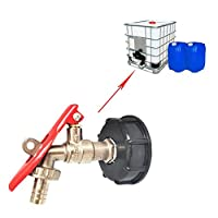 HEIRAO IBC Tank Tap Adapter, Brass Garden Tap with Lockable Hose Connector Fitting Pack