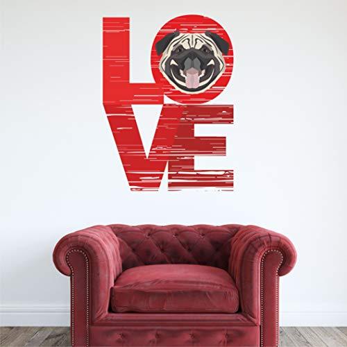 Kapowboom Graphics PUG WALL STICKER ART decal love 3 sizes pet dog (Large - 150 x 111cm)